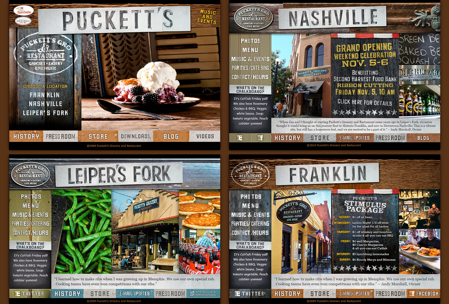 Puckett's Restaurant & Gro. Website Design